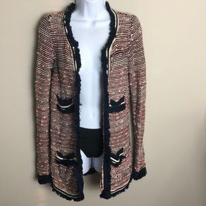 Anthropologie Moth Pink Tweed Cardigan Size XS